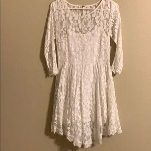 Free People ivory lace leaf print dress size 10